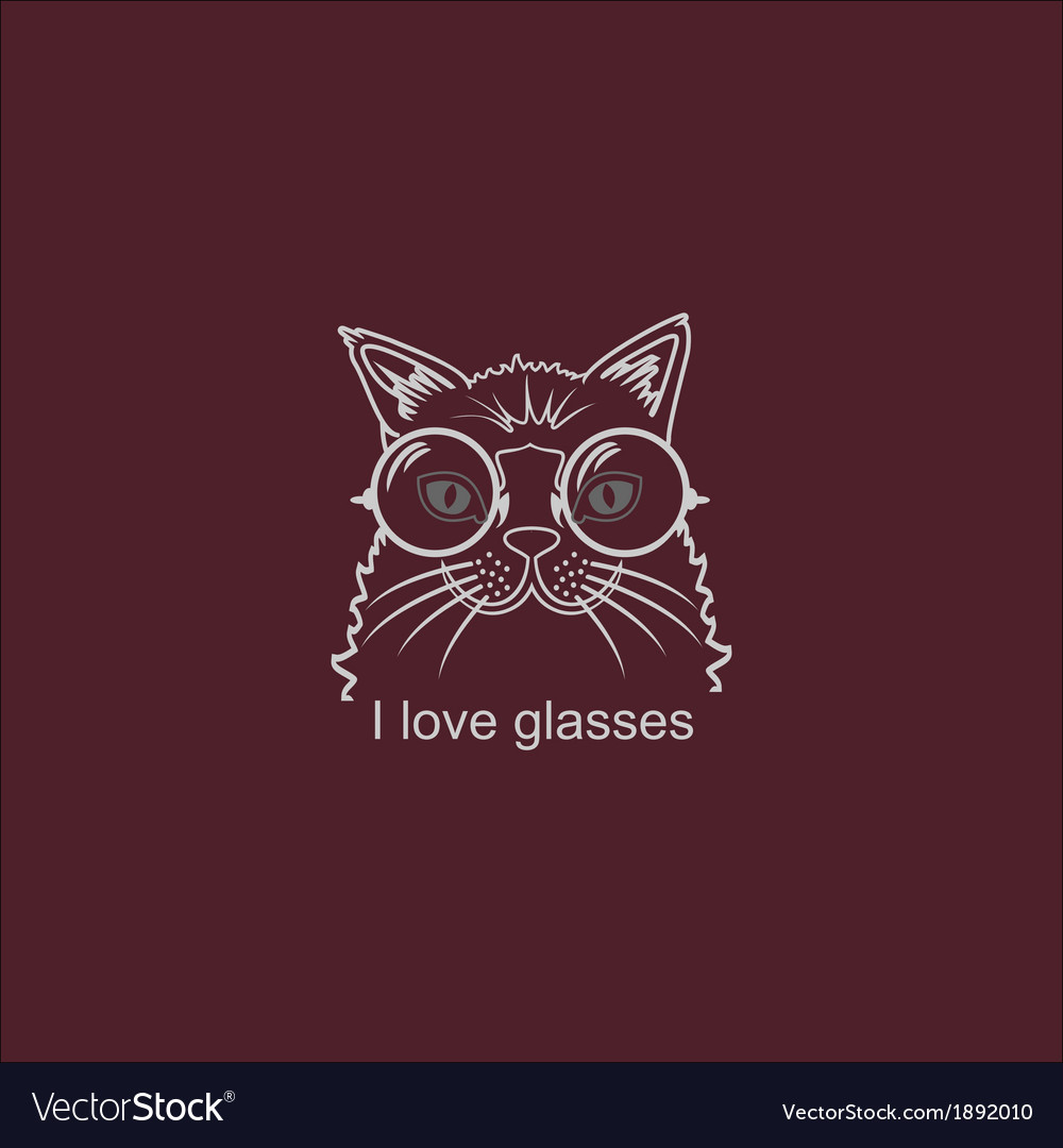 Portrait cat in big glasses vector | Price: 1 Credit (USD $1)