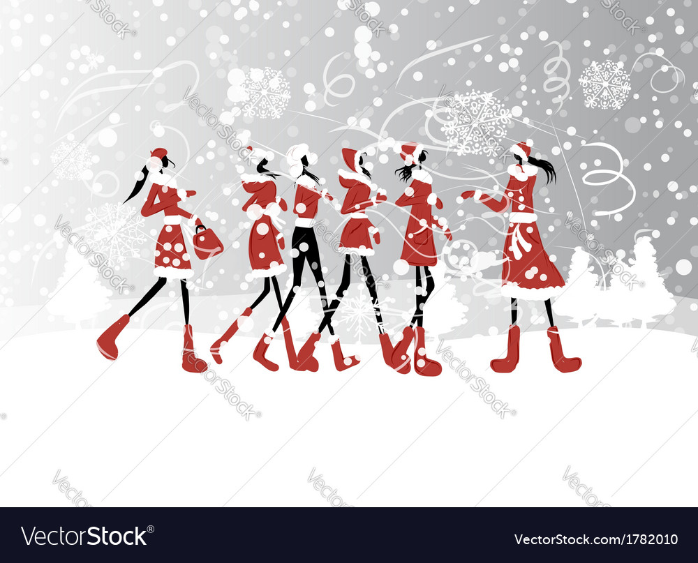 Santa girls for your design vector | Price: 1 Credit (USD $1)