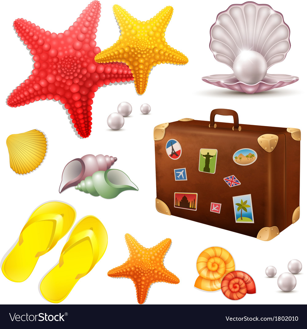 Set of summer elements vector | Price: 1 Credit (USD $1)