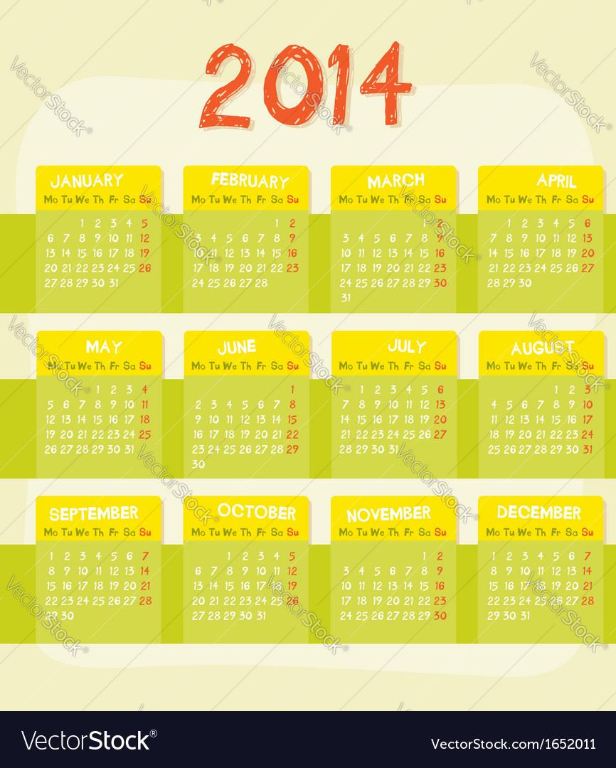 Calendar of year 2014 vector | Price: 1 Credit (USD $1)
