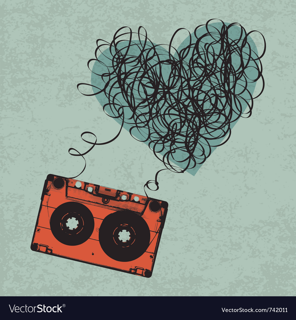 Cassette heart tangled vector | Price: 1 Credit (USD $1)
