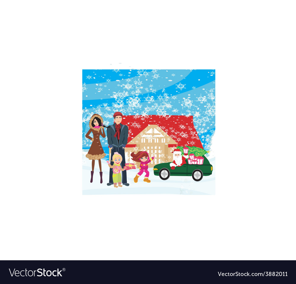 Family waiting for gifts from santa claus vector | Price: 1 Credit (USD $1)