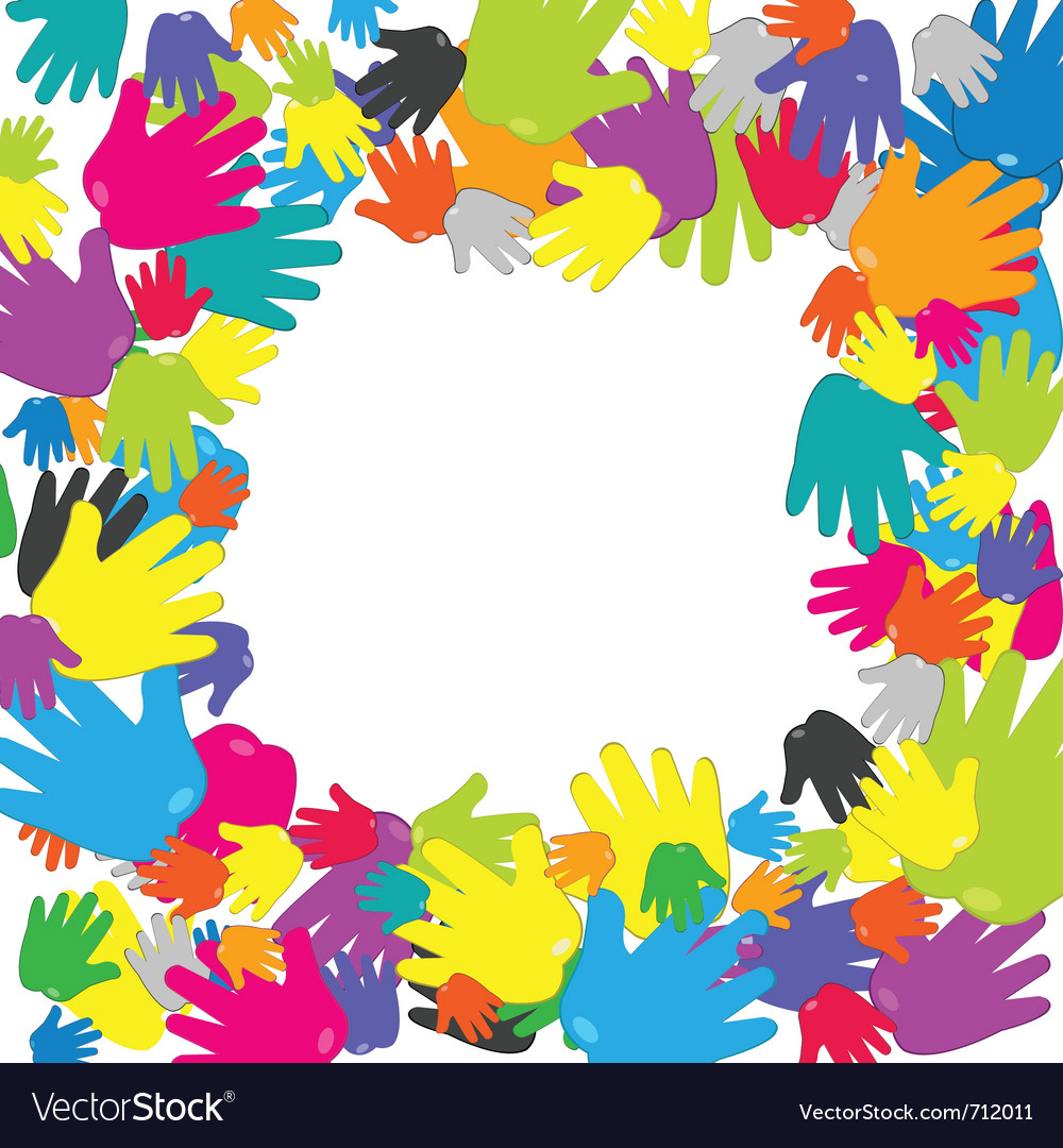 Frame with colored hands vector | Price: 1 Credit (USD $1)