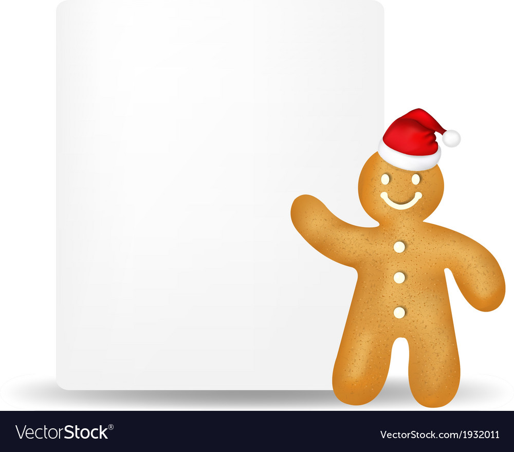 Gingerbread man with blank gift tag vector | Price: 1 Credit (USD $1)