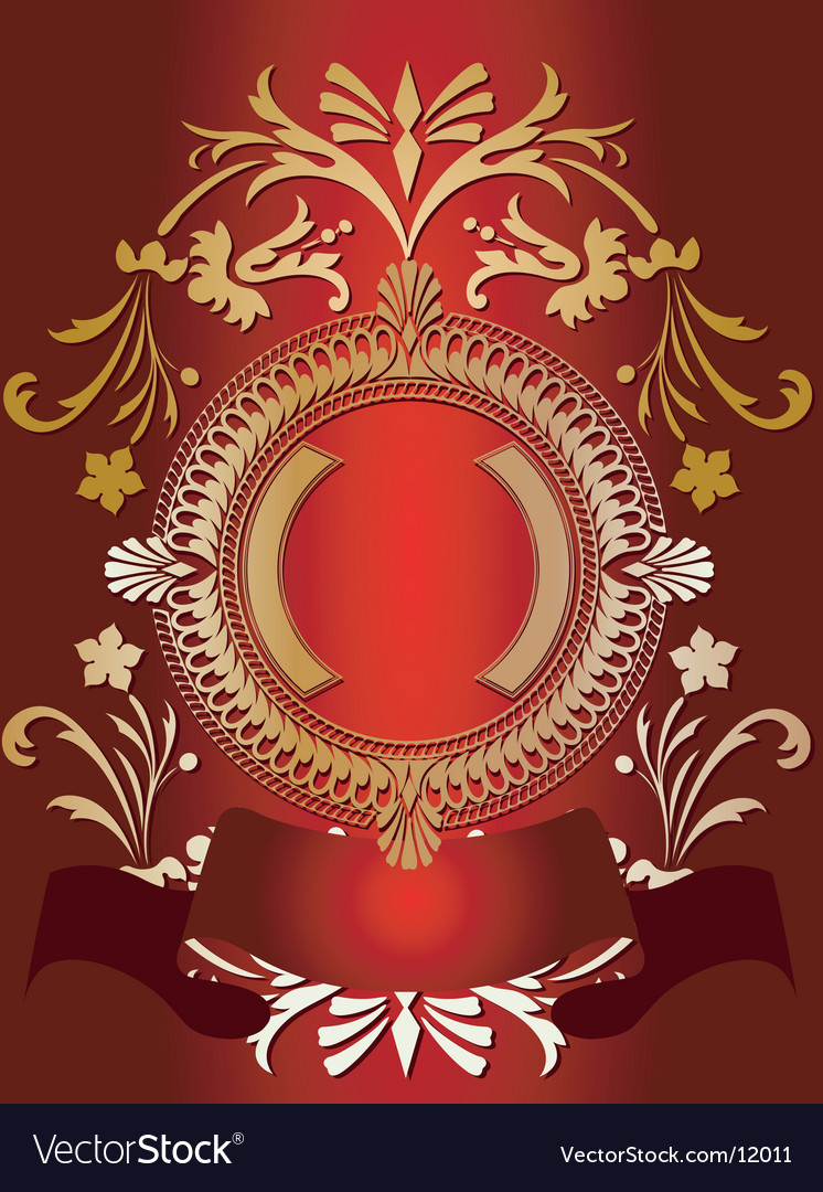 Golden ornate banner on red vector | Price: 1 Credit (USD $1)