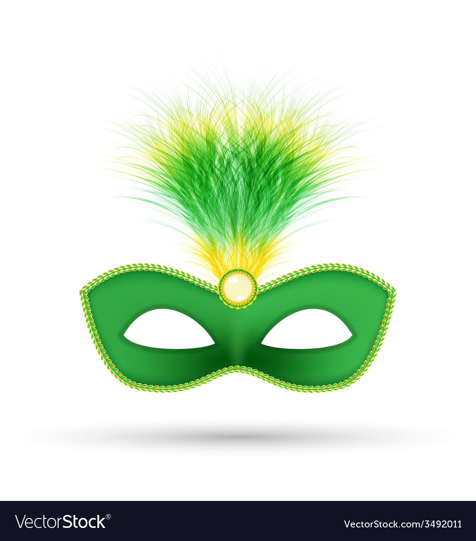 Green carnival mask with fluffy feathers isolated vector | Price: 1 Credit (USD $1)