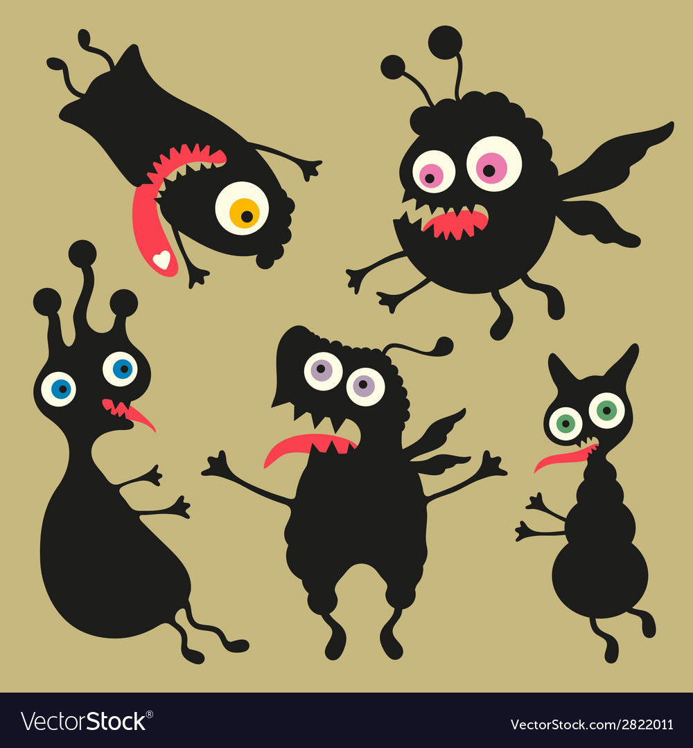 Happy monsters - set 8 vector | Price: 1 Credit (USD $1)