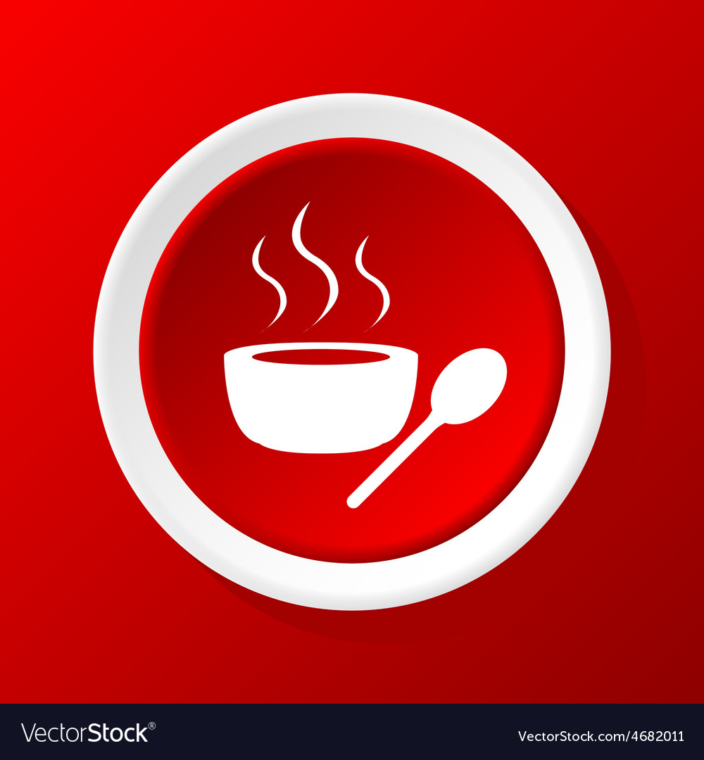Hot soup icon on red vector | Price: 1 Credit (USD $1)