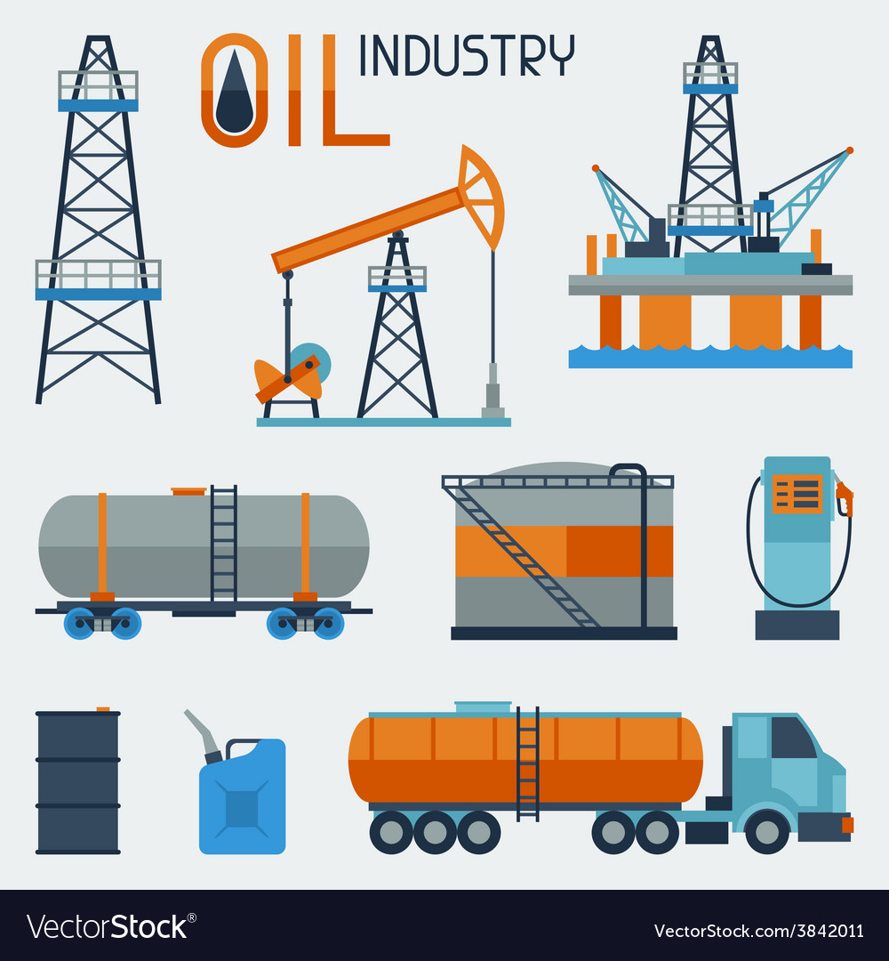 Industrial set of oil and petrol icon vector | Price: 1 Credit (USD $1)