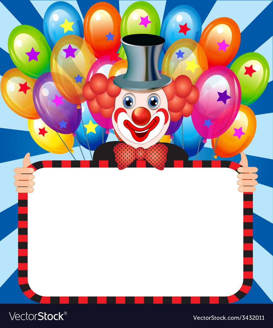 Merry clown with balloons holding vector | Price: 1 Credit (USD $1)