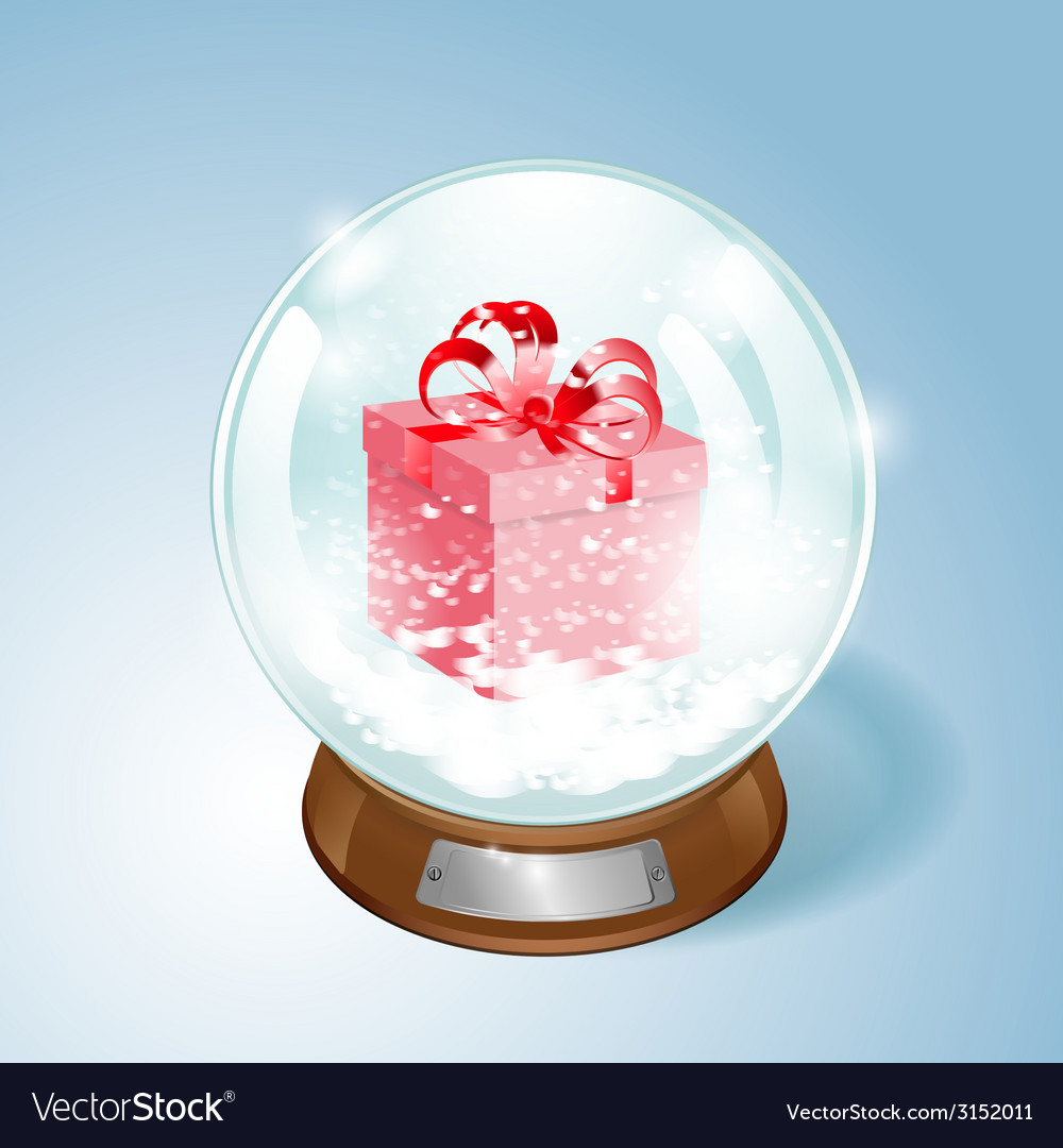 Snow globe with the gift and the falling snow vector | Price: 1 Credit (USD $1)