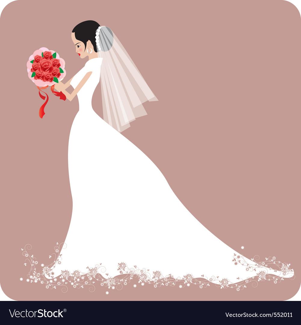 Weddingbride with rose vector | Price: 1 Credit (USD $1)