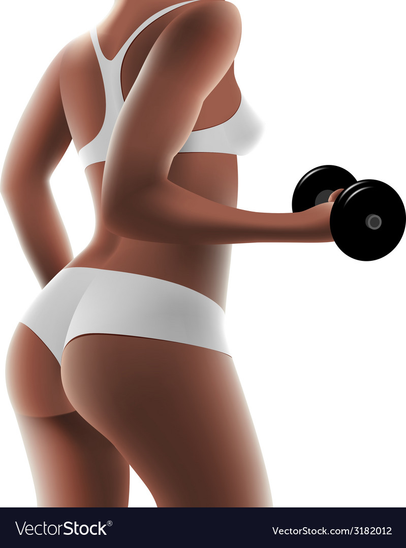 Athletic woman with dumbbells vector | Price: 3 Credit (USD $3)