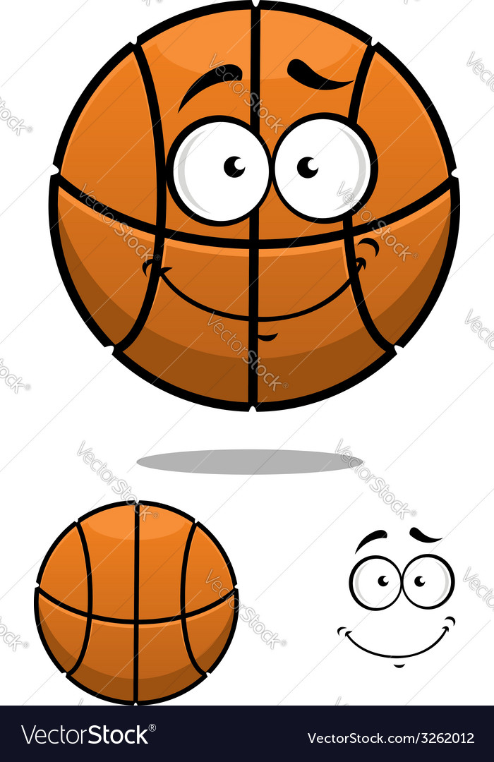 Basketball ball character with a cute face vector | Price: 1 Credit (USD $1)