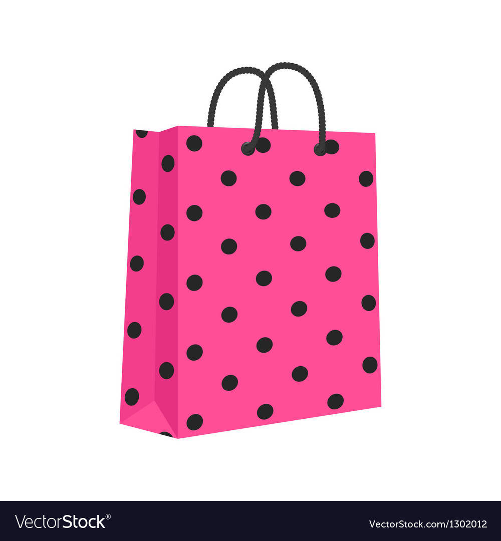 Blank paper shopping bag with rope handles pink vector | Price: 1 Credit (USD $1)