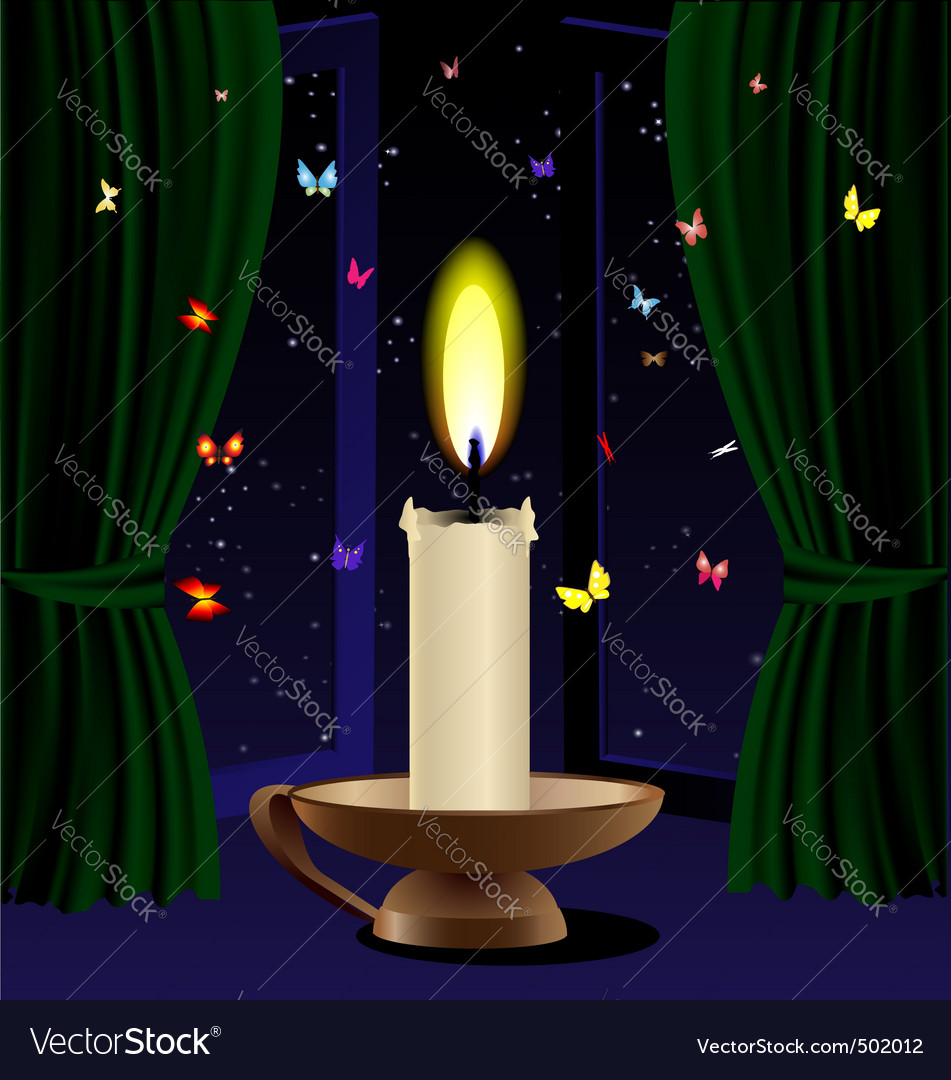 Candle and butterfly vector | Price: 1 Credit (USD $1)