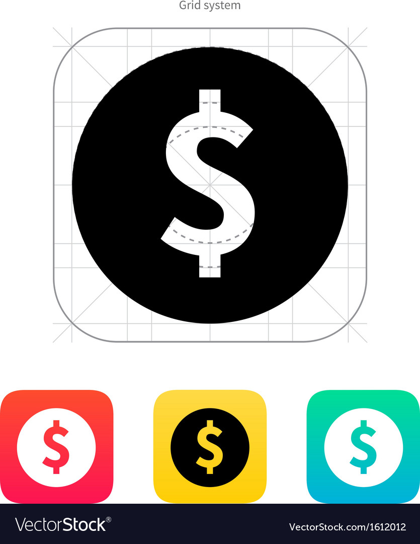 Coin with dollar sign icon vector | Price: 1 Credit (USD $1)