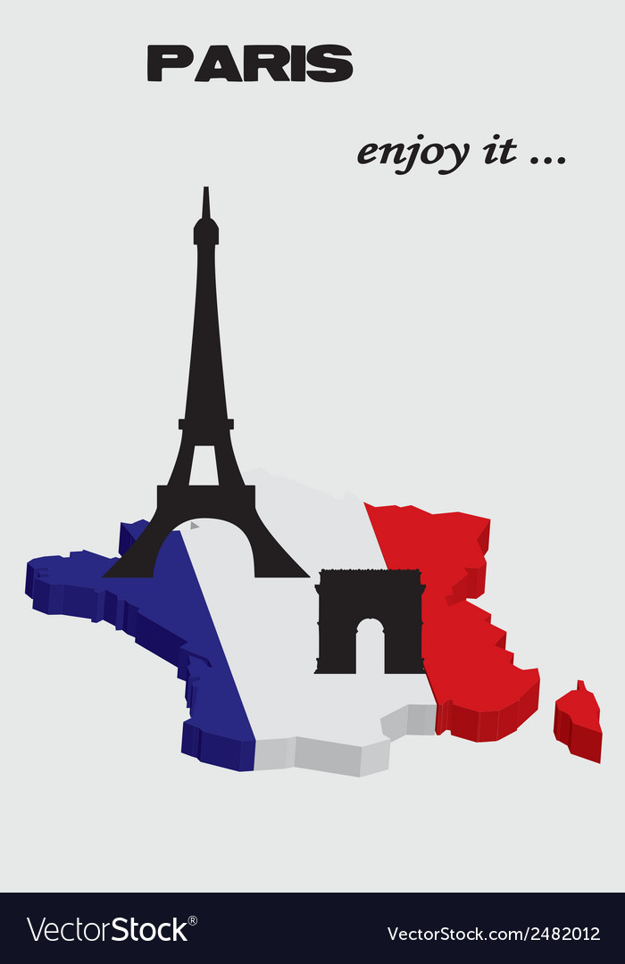 France map with landmark vector | Price: 1 Credit (USD $1)
