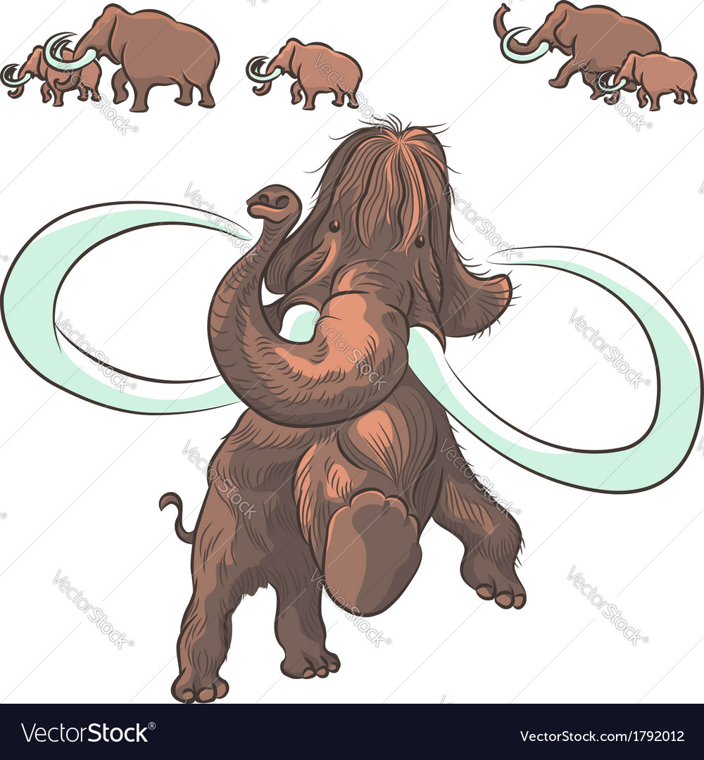 Herd of mammoths isolated on white background vector | Price: 1 Credit (USD $1)