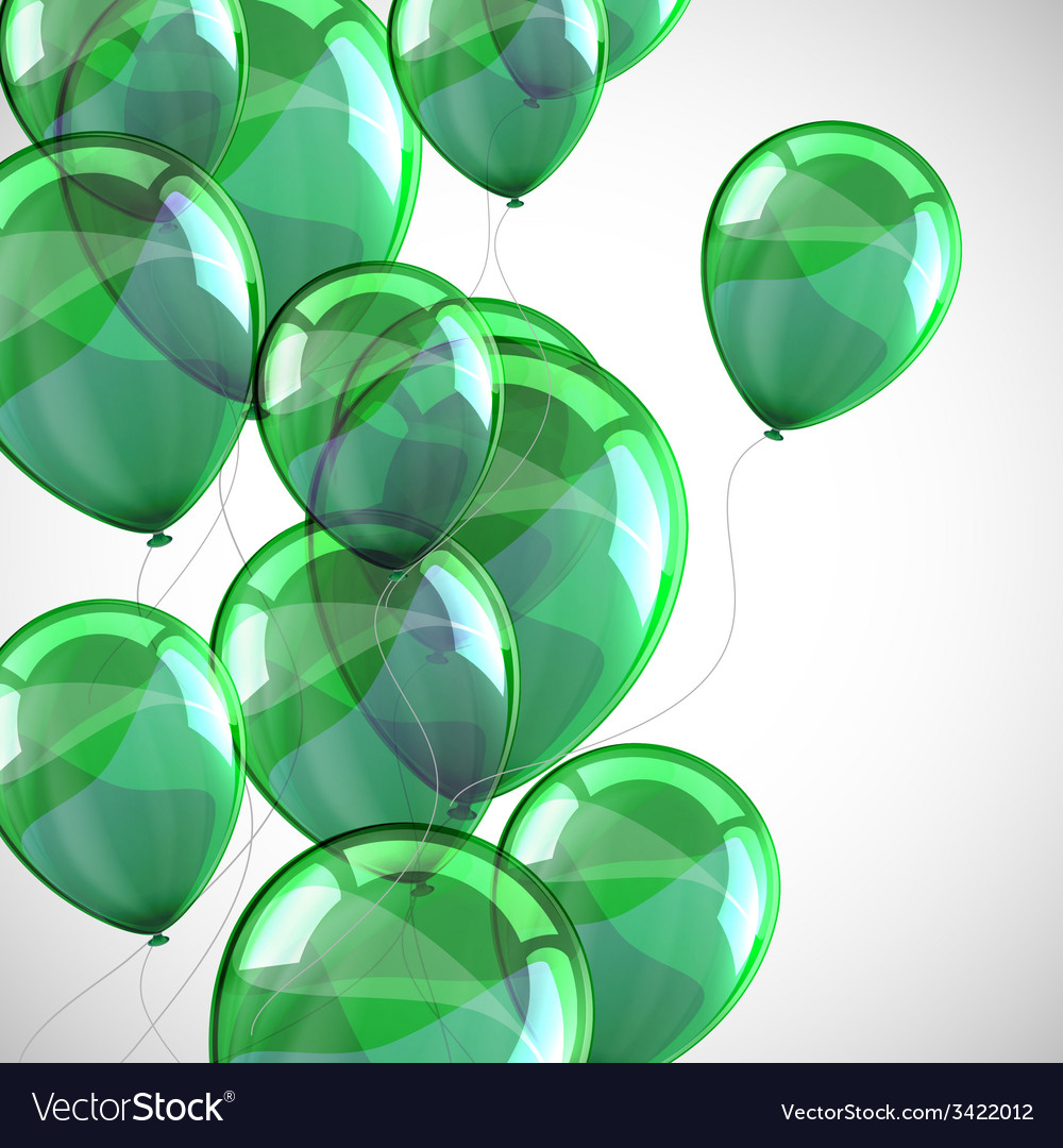 Holiday background with flying green balloons vector   Price: 1 Credit (USD $1)