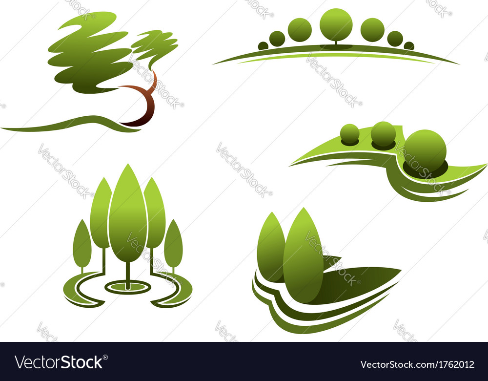 Landscape design elements vector | Price: 1 Credit (USD $1)