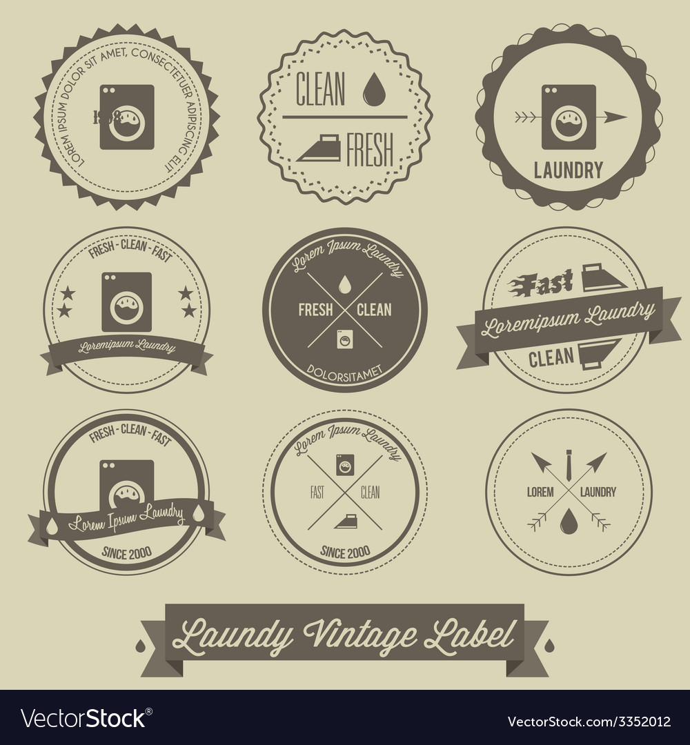 Laundry business vintage label vector | Price: 1 Credit (USD $1)