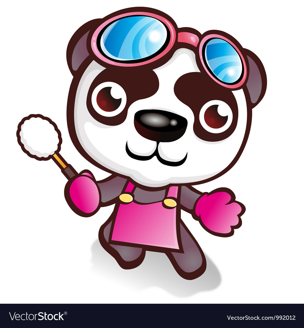 Panda character who likes to sweep vector   Price: 3 Credit (USD $3)