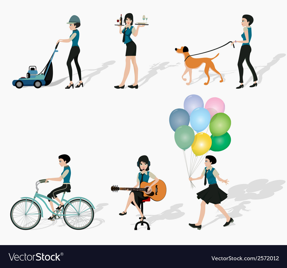 Women in action vector | Price: 1 Credit (USD $1)