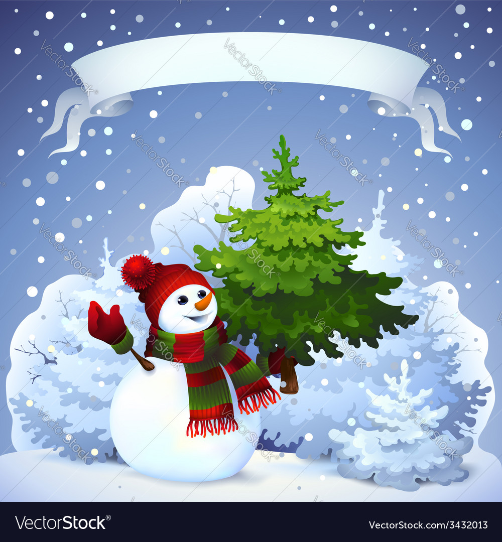 Christmas card with snowman vector | Price: 3 Credit (USD $3)