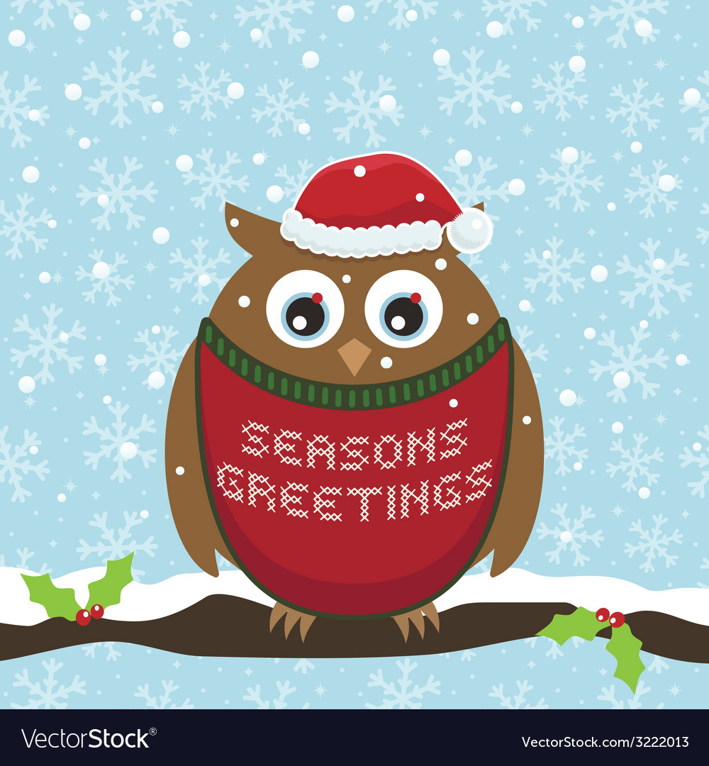 Christmas owl vector | Price: 1 Credit (USD $1)