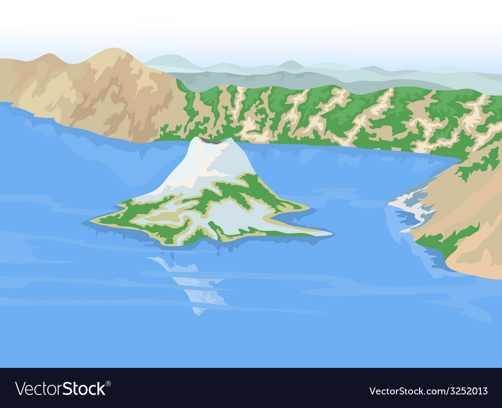 Crater lakes vector | Price: 1 Credit (USD $1)