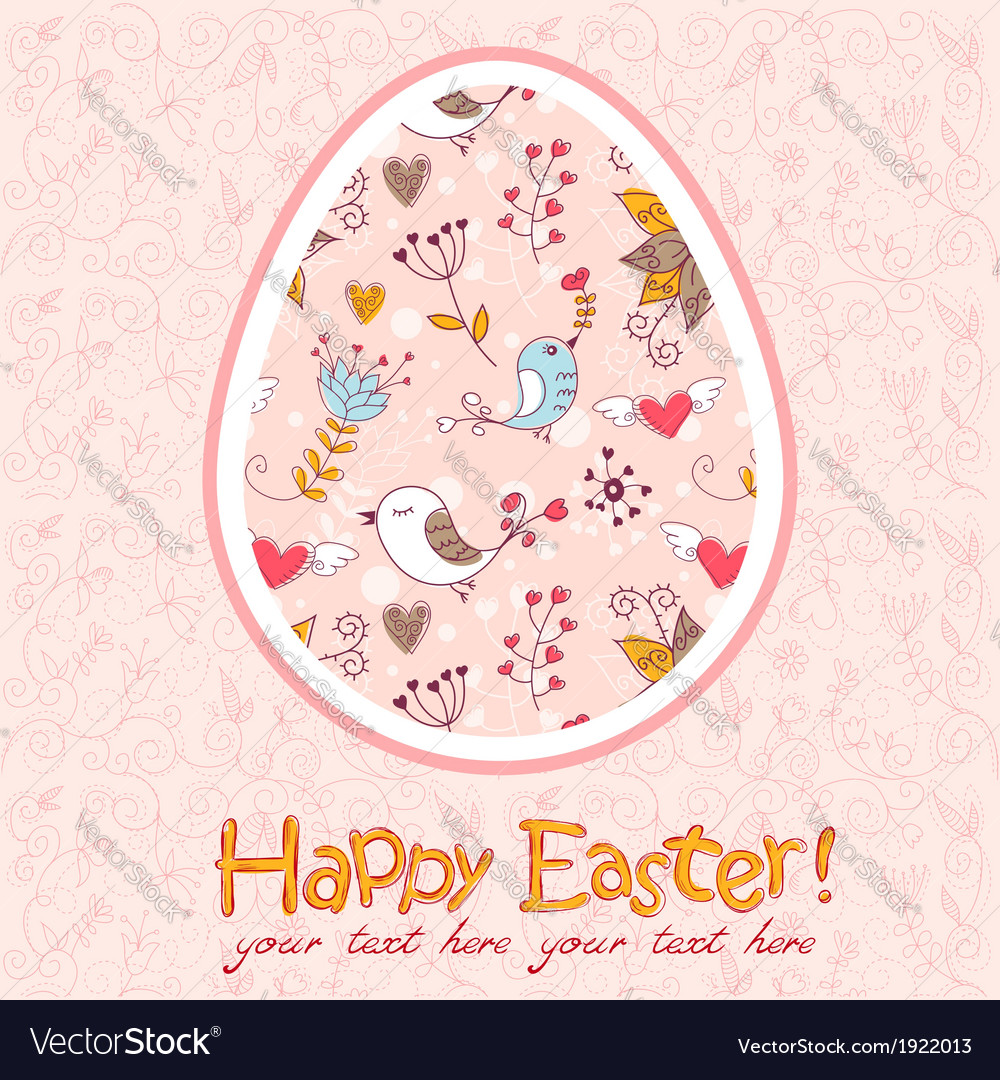 Easter egg cute floral card vector   Price: 1 Credit (USD $1)