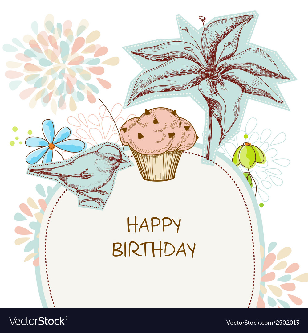 Happy birthday card cupcake bird and flowers vector | Price: 1 Credit (USD $1)