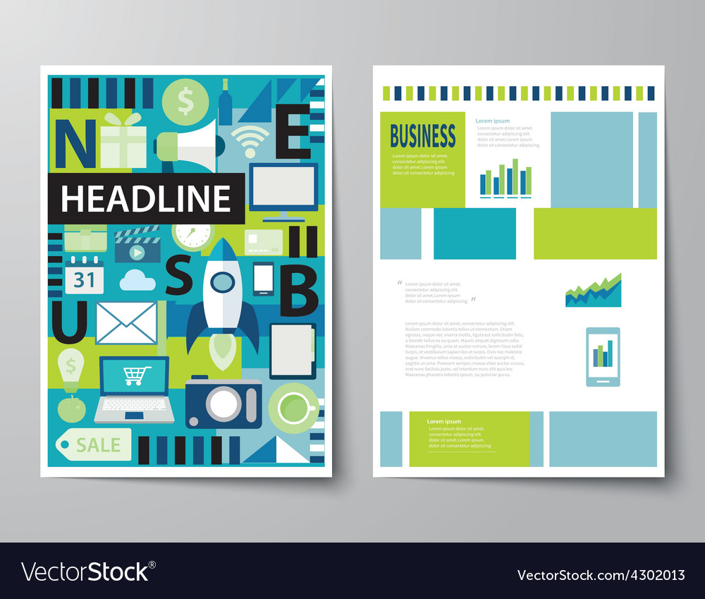 Headline startup set of magazine cover vector | Price: 1 Credit (USD $1)