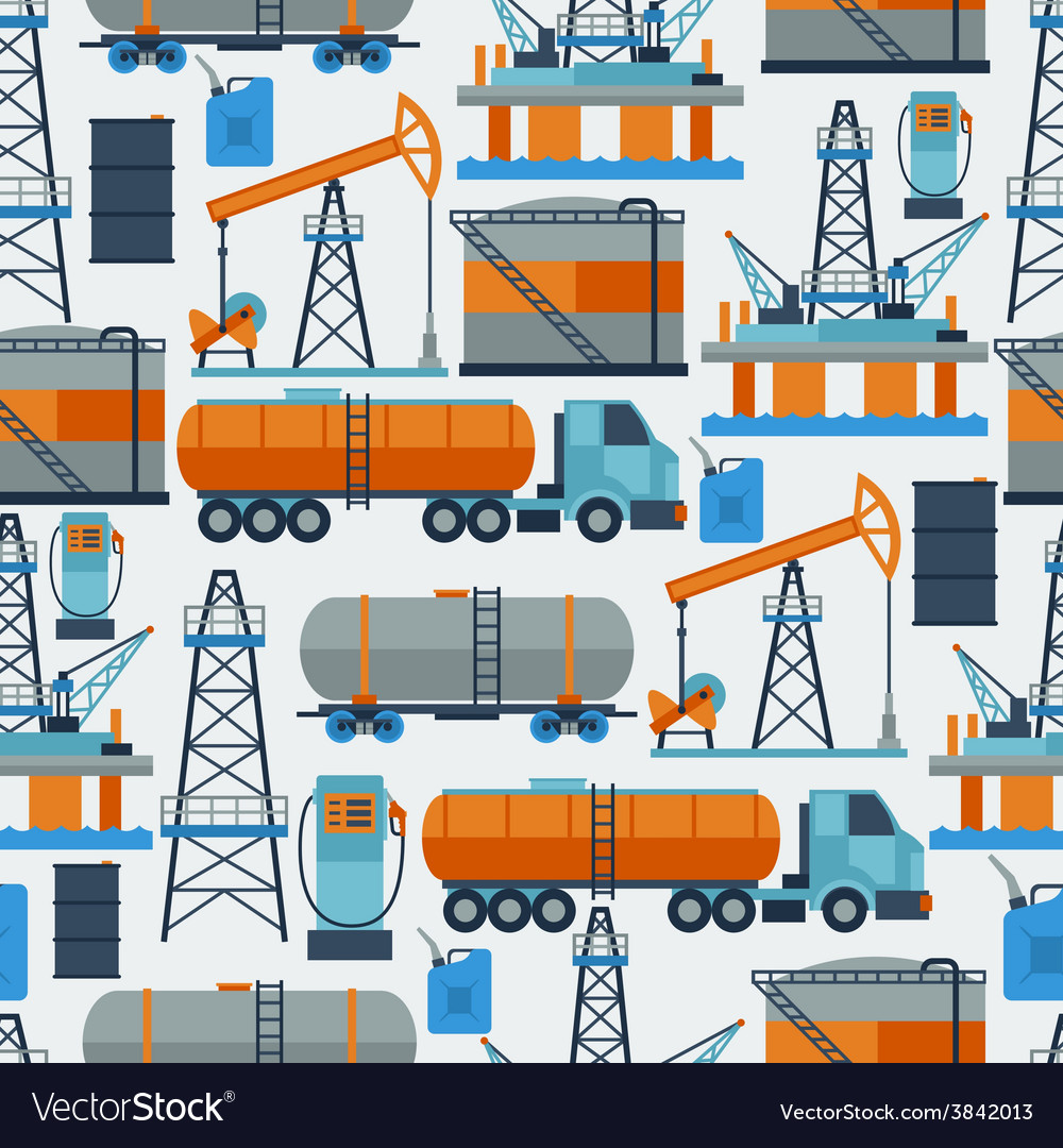 Industrial seamless pattern with oil and petrol vector | Price: 1 Credit (USD $1)