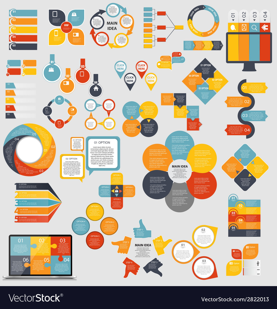 Mega collection of flat infographic templates for vector | Price: 1 Credit (USD $1)