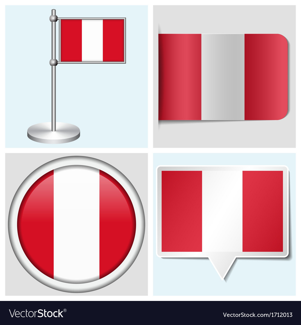 Peru flag - sticker button label flagstaff vector | Price: 1 Credit (USD $1)
