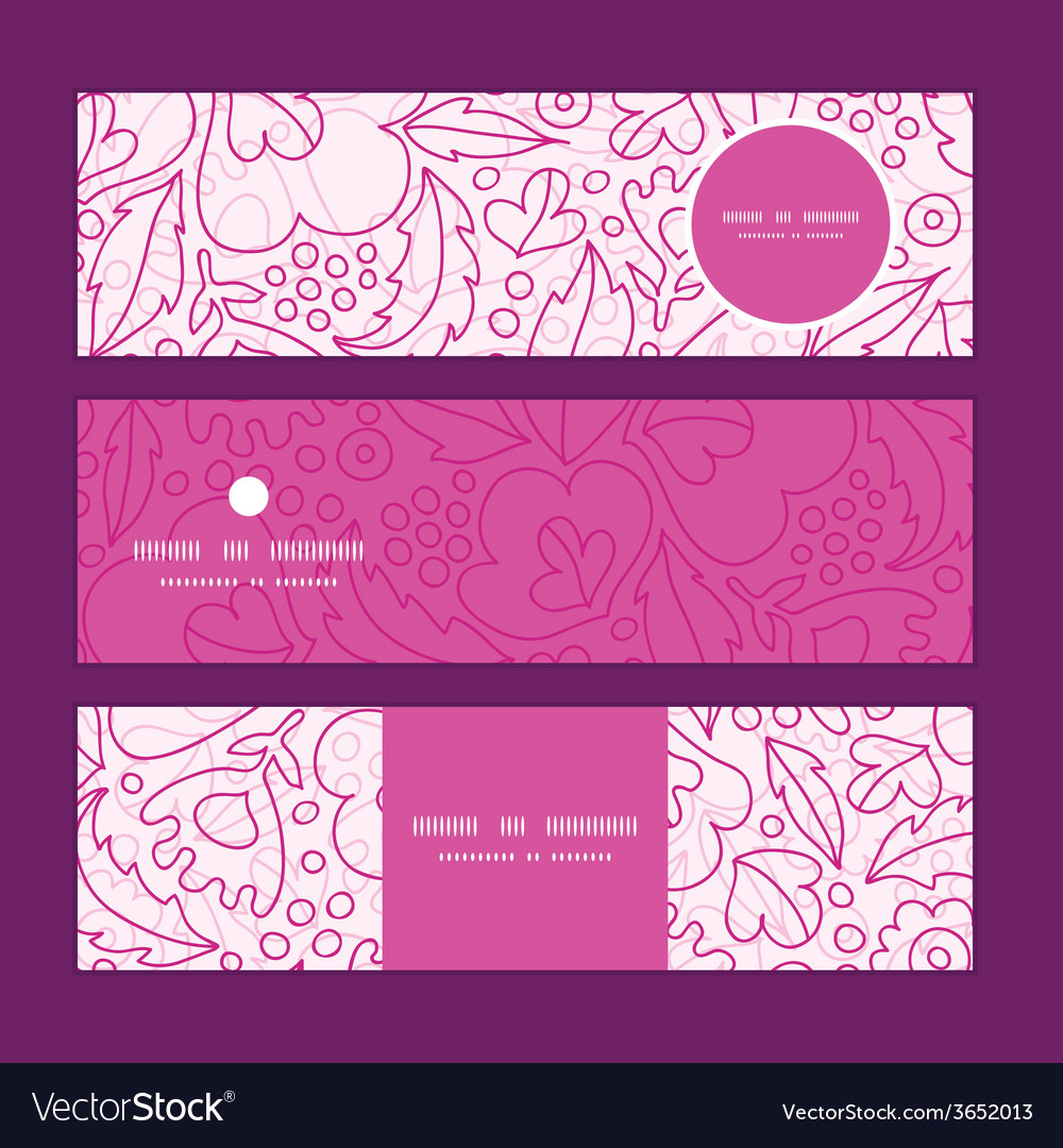 Pink flowers lineart horizontal banners set vector | Price: 1 Credit (USD $1)
