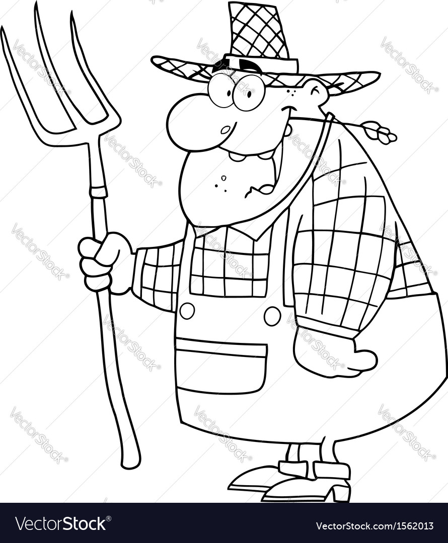 Royalty free rf clipart happy farmer man carrying vector | Price: 1 Credit (USD $1)
