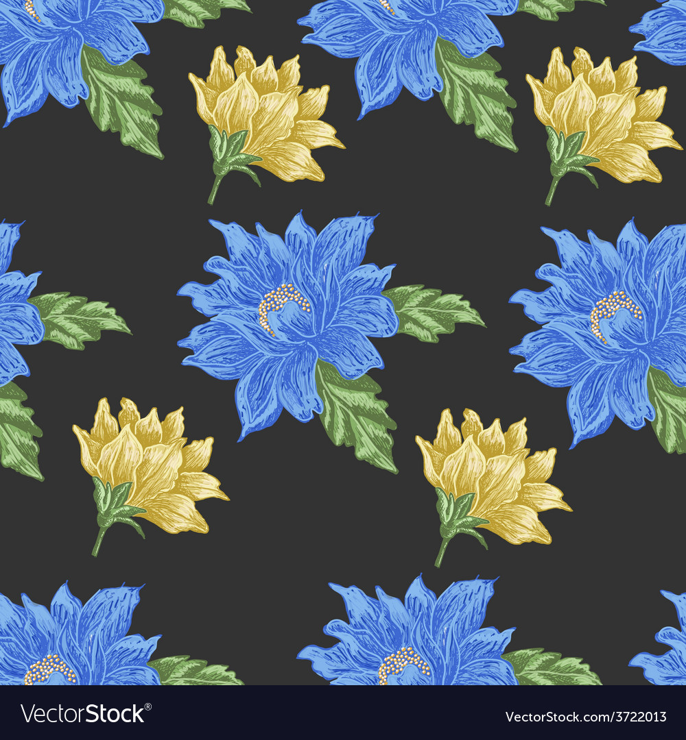 Seamless pattern with blue and yellow flowers on a vector | Price: 1 Credit (USD $1)