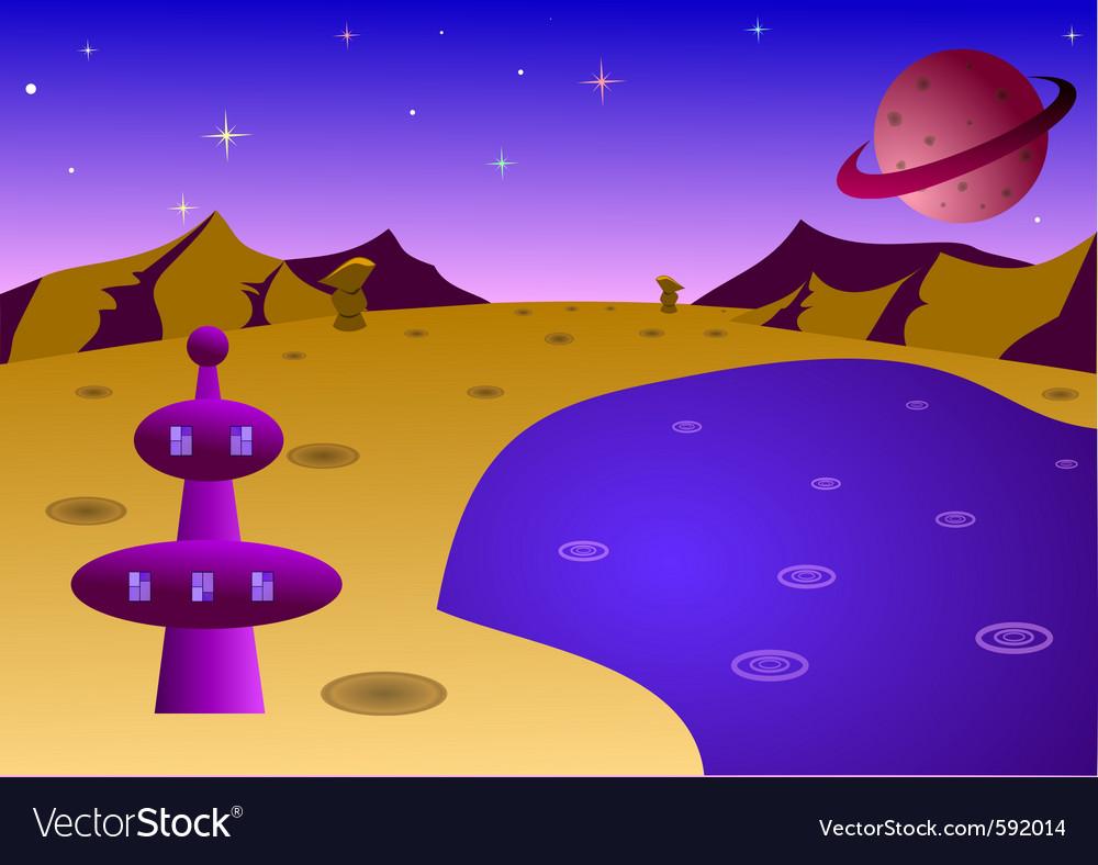 Cartoon planet landscape vector   Price: 1 Credit (USD $1)