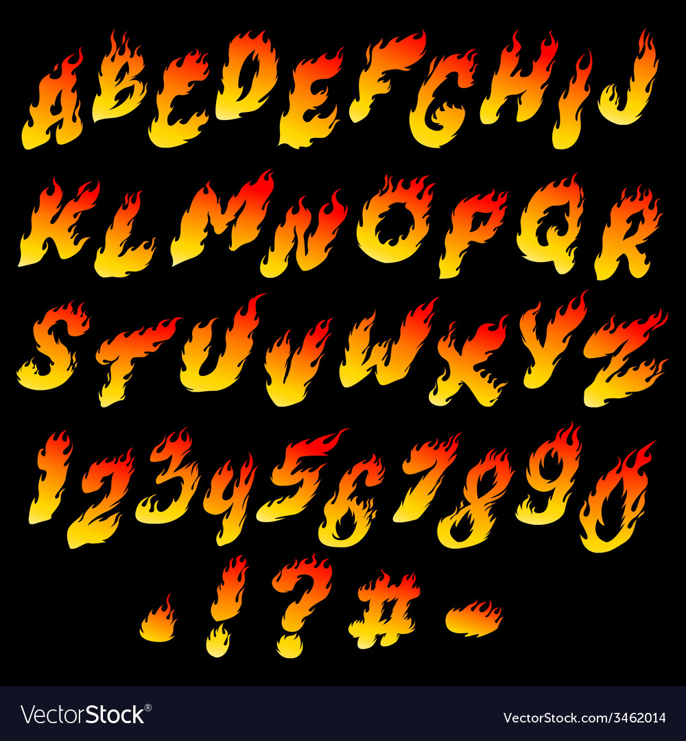 Fire font vector | Price: 1 Credit (USD $1)