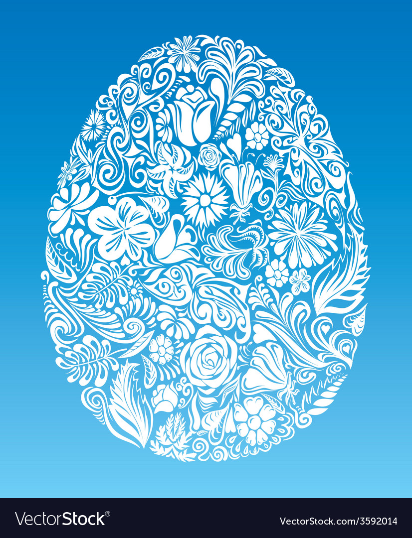 Floral egg vector | Price: 1 Credit (USD $1)