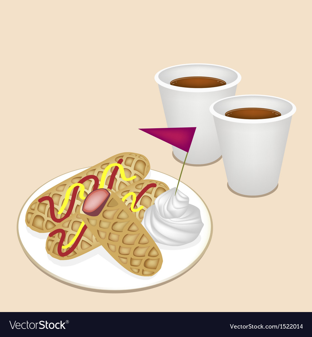 Hot coffee in disposable cup with hot dog waffles vector | Price: 1 Credit (USD $1)