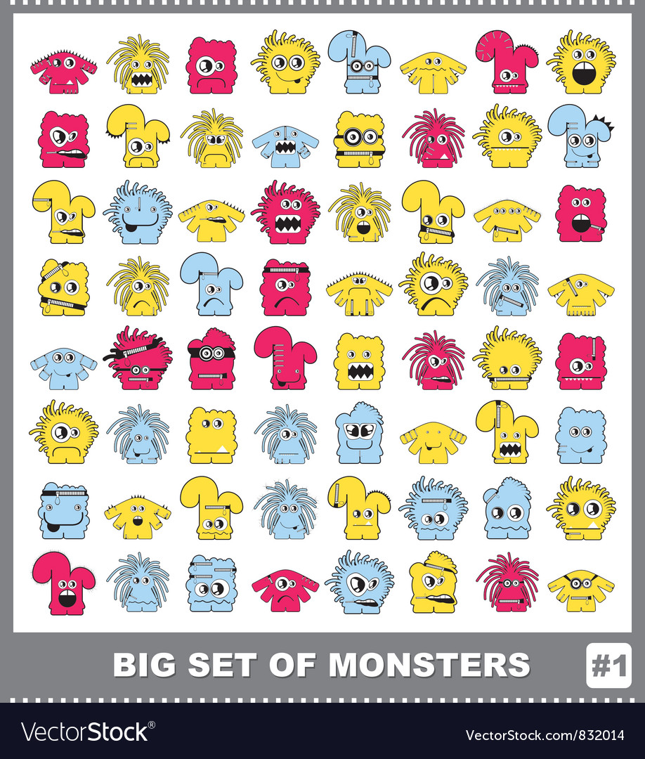Set of monsters vector | Price: 1 Credit (USD $1)