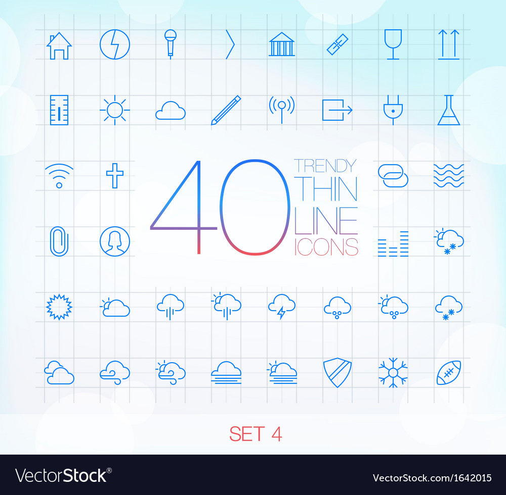 40 trendy thin icons for web and mobile set 4 vector | Price: 1 Credit (USD $1)