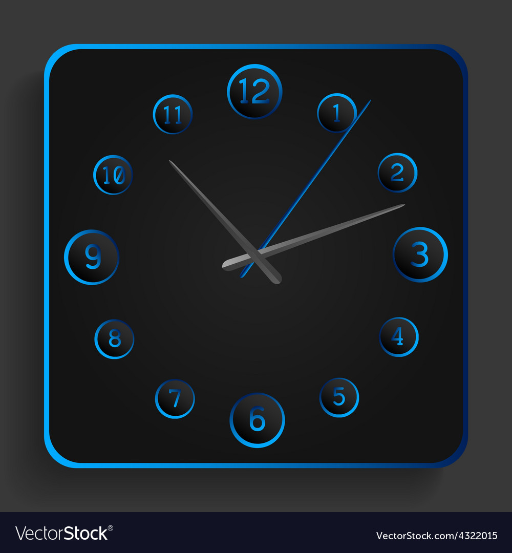 Analog clock with blue neon lights vector | Price: 1 Credit (USD $1)