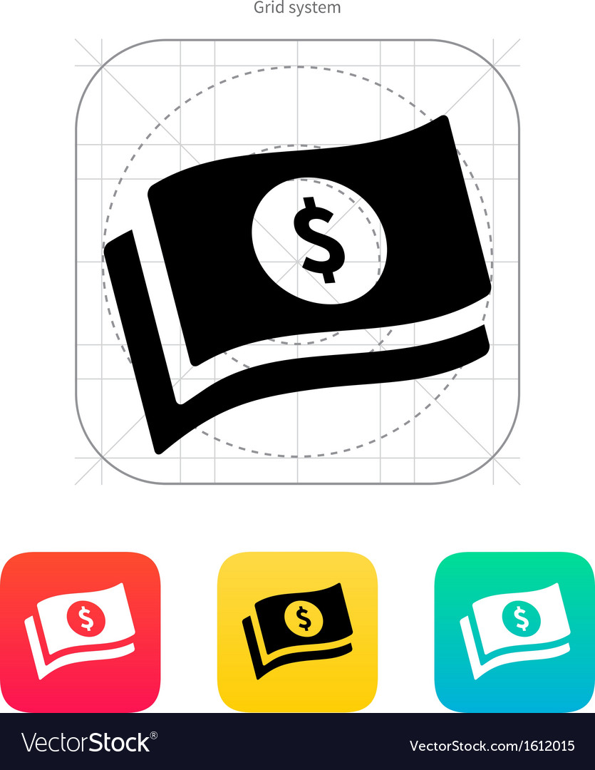 Banknotes with dollar sign icon vector | Price: 1 Credit (USD $1)