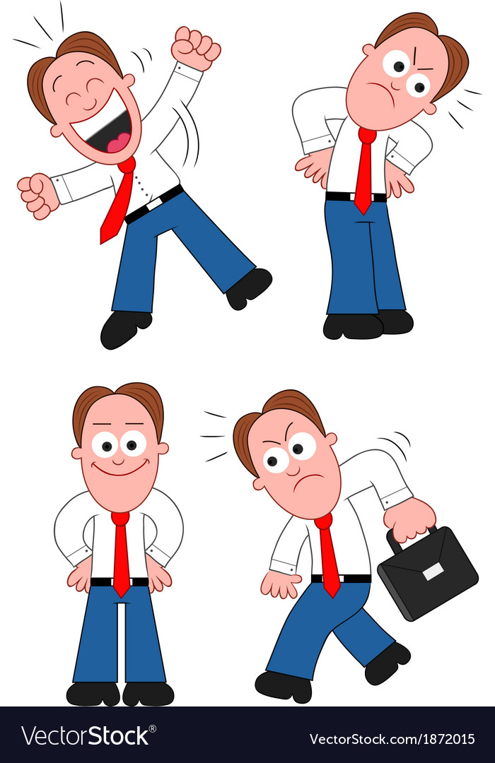 Cartoon businessman set vector | Price: 1 Credit (USD $1)