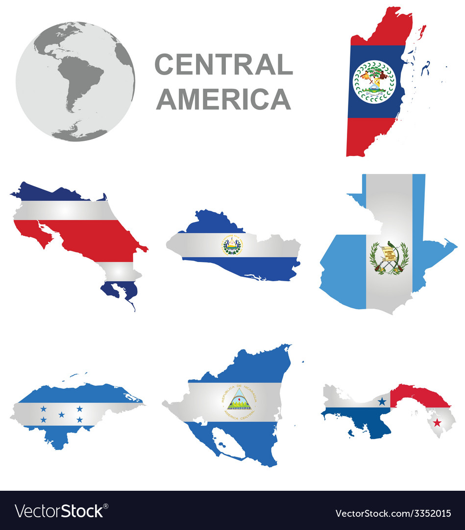 Central american countries vector | Price: 1 Credit (USD $1)